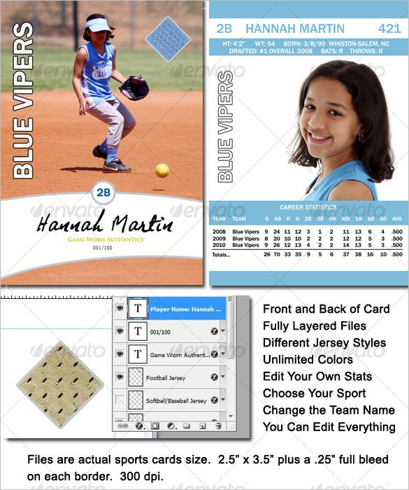 PSD Baseball Card Template Download