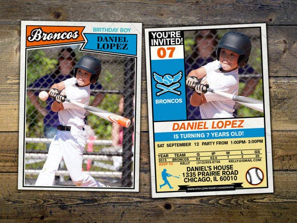 Baseball Card Invitation Template Downlaod