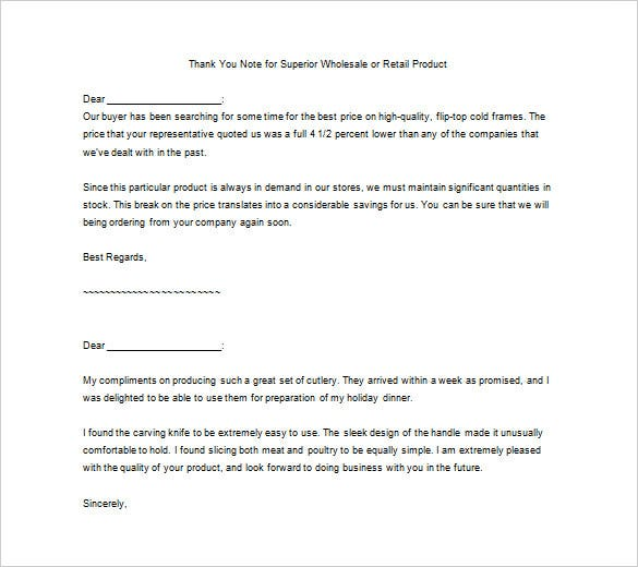 free download thank you for superior service letter template