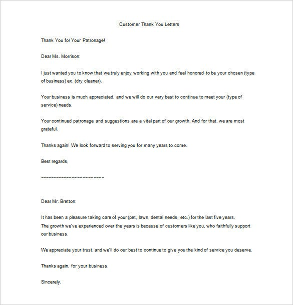 Thank you for your service letter 9 free word excel for Customer service message template