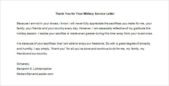 thank you for your military service letter template