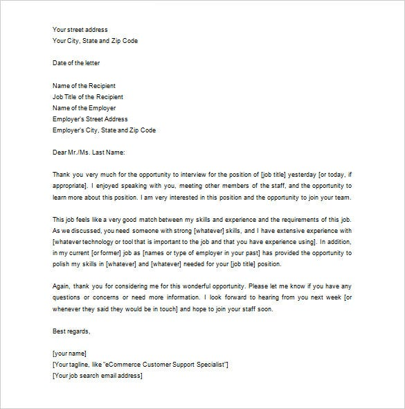 Thank you letter to recruiter 10 free word excel pdf for Internal interview thank you email template
