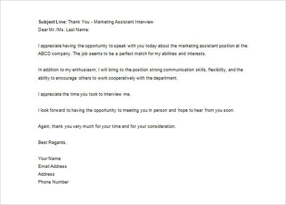Thank You Letter To Recruiter   Free Word Excel Pdf Format