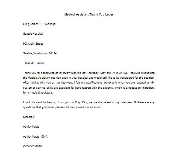 Thank You Letter After A Medical Provider Job Interview Sample