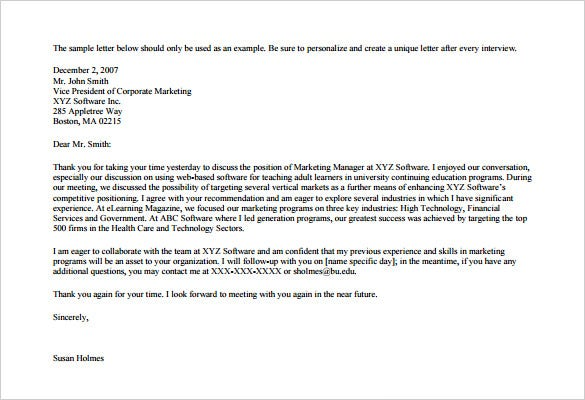 Marketing Thank You Letter   Free Word Excel Pdf Format