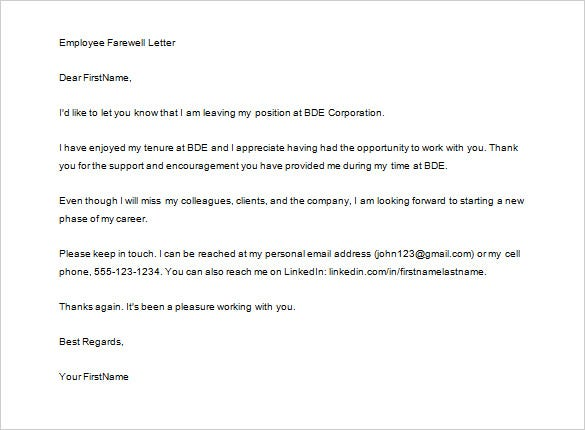 employee farewell job thank you letter template