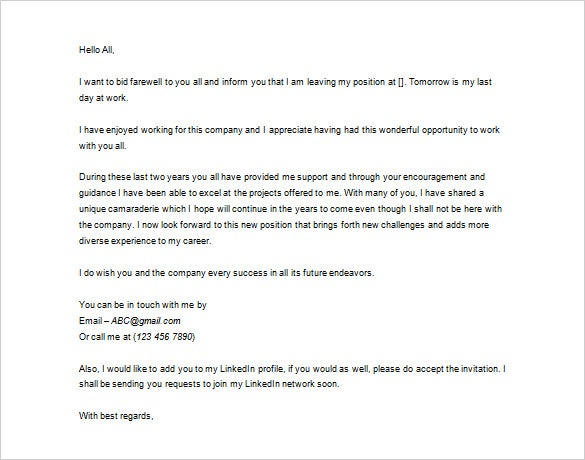 leaving job thank you letter template download
