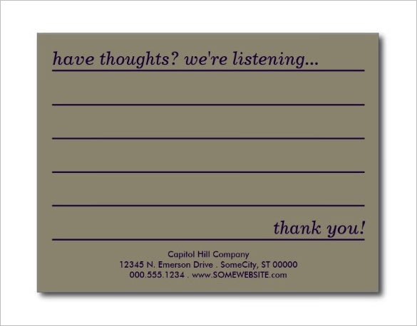 beautiful comment card template download