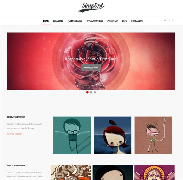 simple k2 component joomla blog portfolio template
