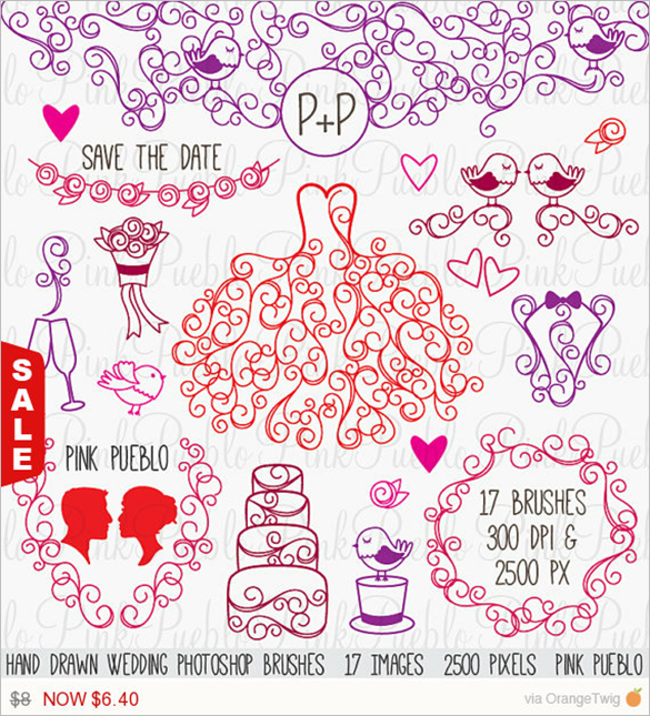 288 Wedding Photoshop Brushes Free Vector Eps Abr Ai