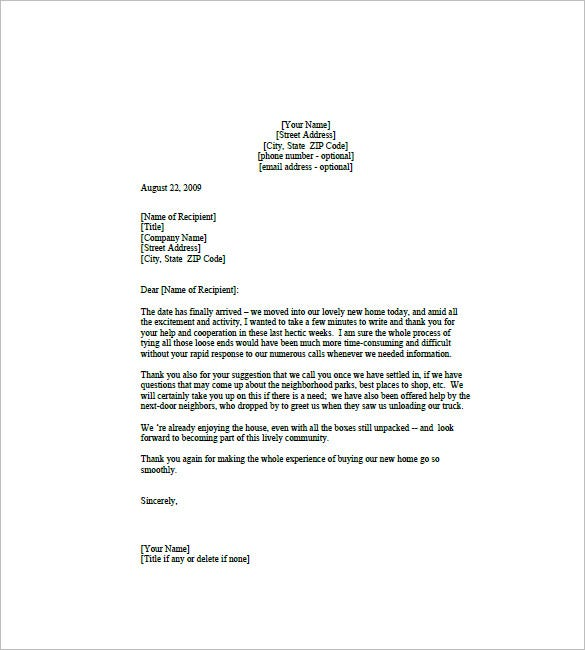 Real Estate Thank You Letters 10 Free Word Excel PDF