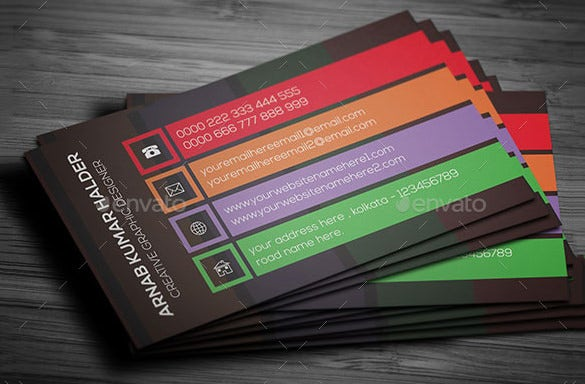 colourful psd template for contact card