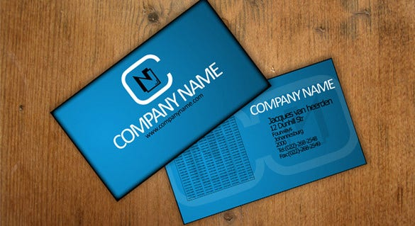 blue colour contact card template