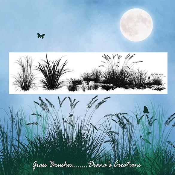6 fabulous free grass photoshop brushes