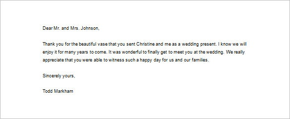 Thank You Letter For Wedding Gift Download