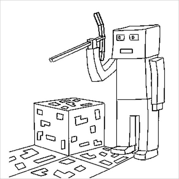 minecraft style coloring page for kids - Minecraft Printable Coloring Pages