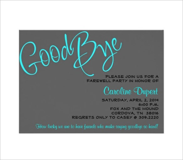 farewell invitation card template download