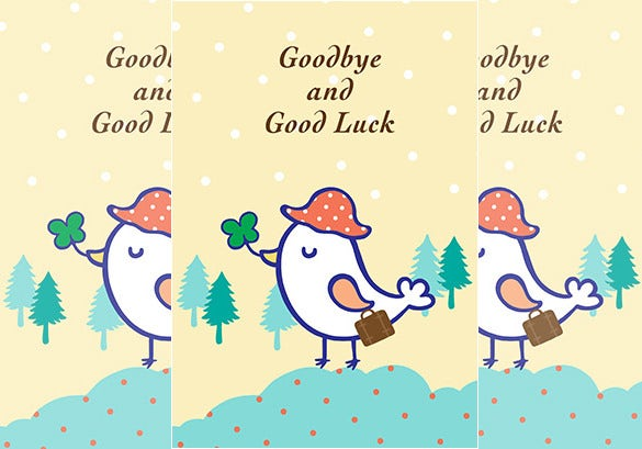 cute farewell card template download