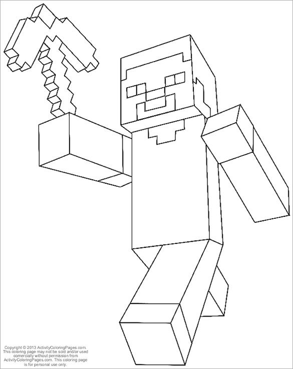 Printable Minecraft Coloring Page For Kids Project