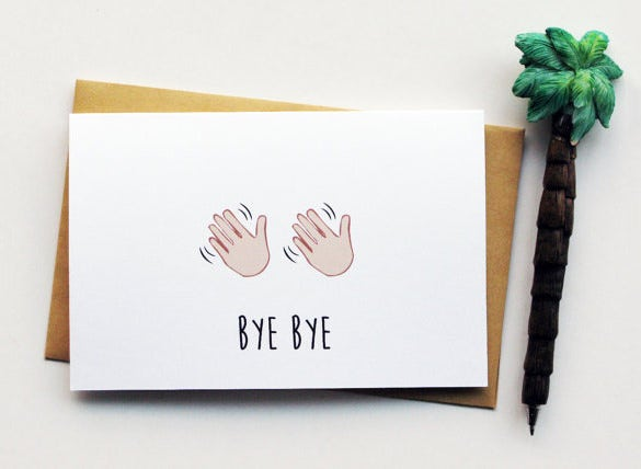 bye bye farewell card template download
