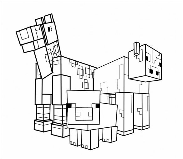 Animal Minecraft Coloring Page Template Word