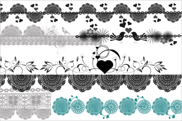 6 lace photoshop brushes premium download