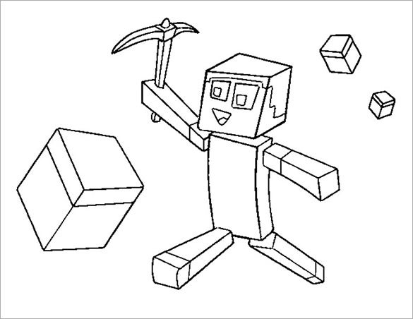 colouring page for minecraft download