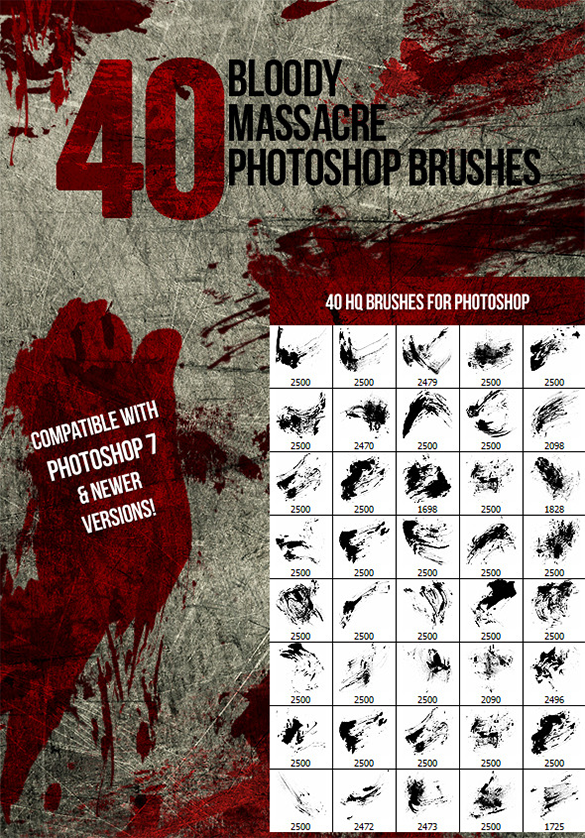 40 premium blood splatter photoshop brushes