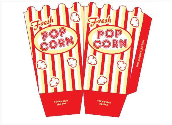 image relating to Popcorn Box Printable named 9+ Popcorn Box Templates No cost Quality Templates