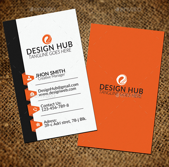 vertical premium staples business card