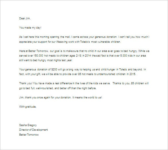 Thank You Letter For Donation – 8+ Free Sample, Example Format
