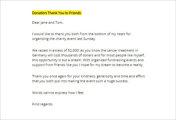 Thank You Letter For Donation 8 Free Sample Example Format – Thank You Letter for Donations