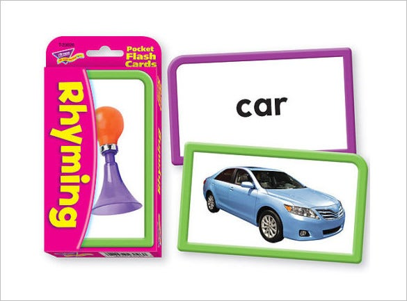 rhyming flash card template for children