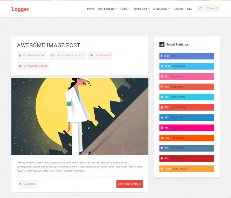 logger responsive personal blogging theme 788x675