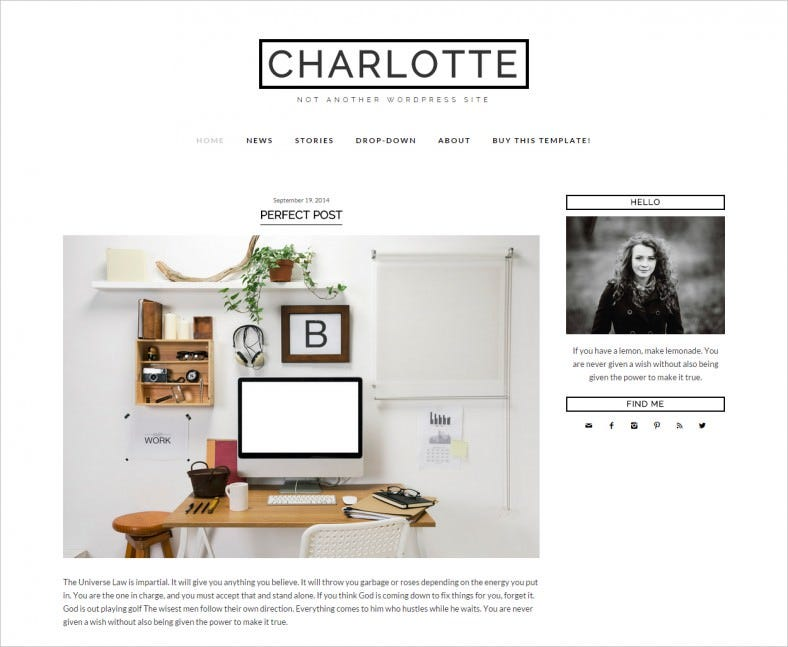 charlotte wordpress template blog 788x647