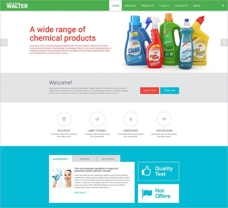 chemical products website template 788x718