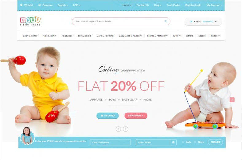 baby kids store ecommerce html template 788x522