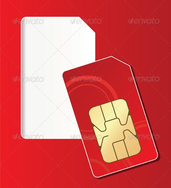 vector eps red colour micro sim card