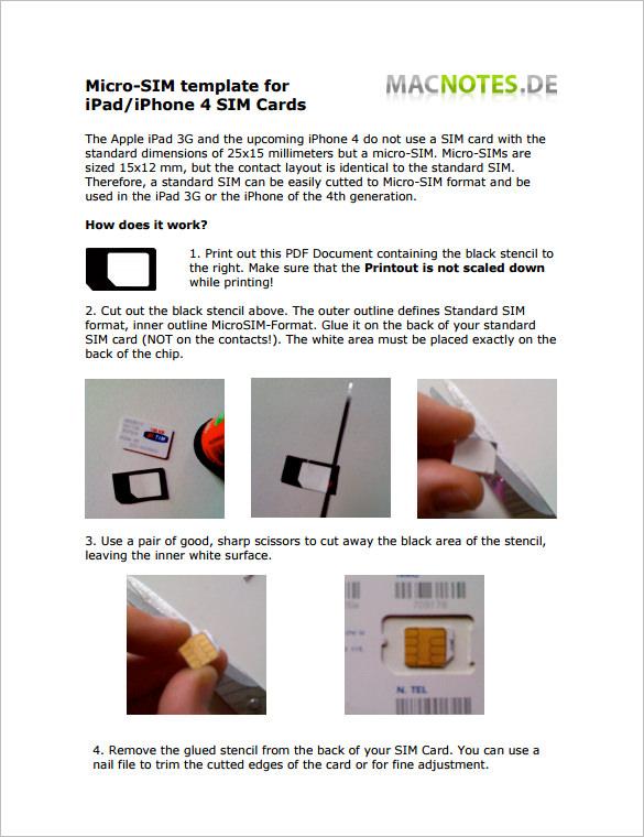 micro sim card pdf template download