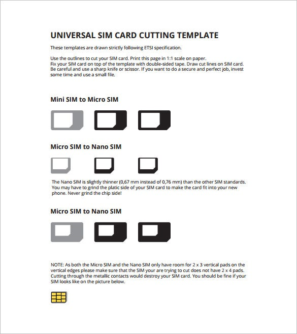 Micro Sim Card Template 12 Free Printable Sample