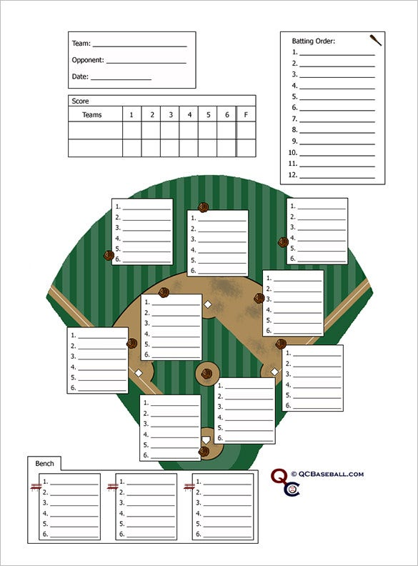 10 baseball line up card templates doc pdf free for Free baseball lineup card template