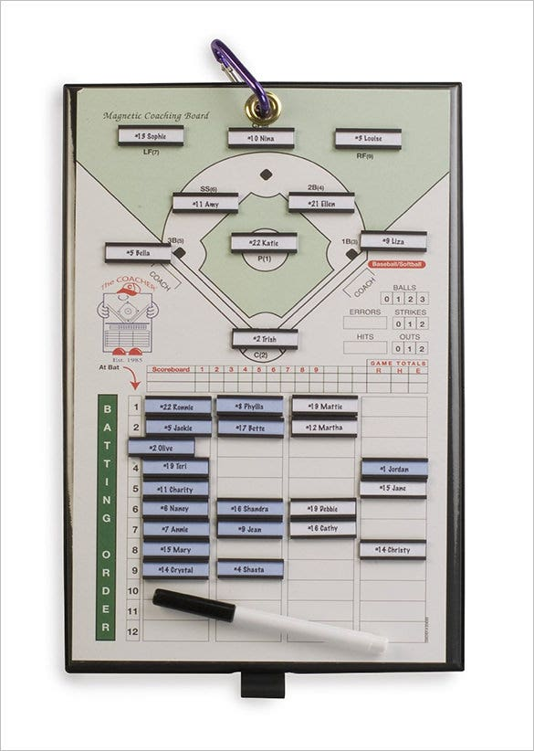 coacher magnetic baseball line up card template