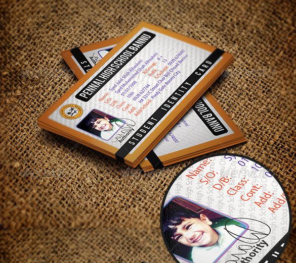 premium student identity business card