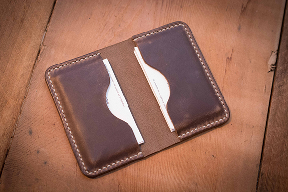 leather student business card holder