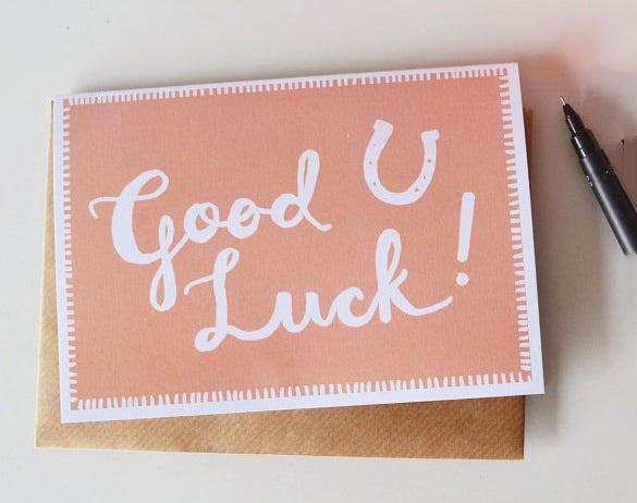 Beautiful Good Luck Card Template Download  Good Luck Card Template