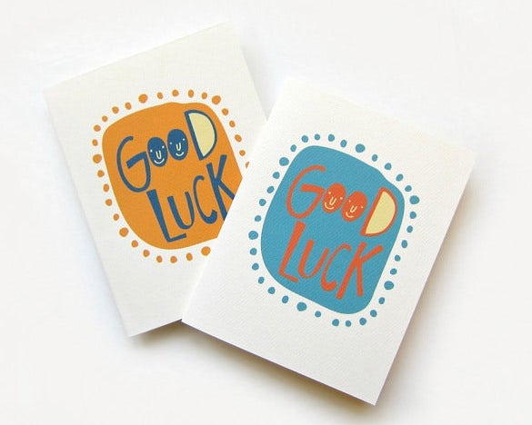 cute good luck card template download