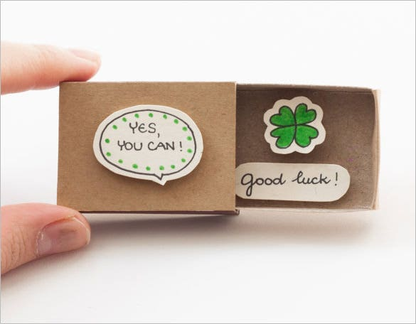 good luck card matchbox template