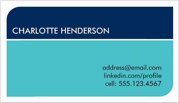 navy blue student business card