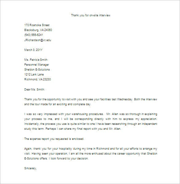 sample thank you letter for on site interview