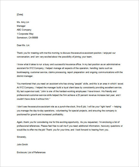 Thank You Letter For Interview   Free Sample Example Format